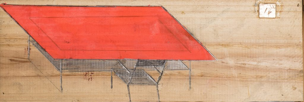 """Table and chair"", unknown date, graphite and acrylics on wood, 12 x 36 cm, Photo: André Rocha © Treger/Saint Silvestre Collection"