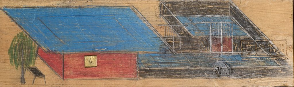 """House"", unknown date, graphite and colored pencil on wood, 11 x 35 cm, Photo: André Rocha © Treger/Saint Silvestre Collection, Portugal"