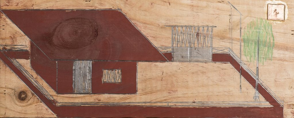 """House"", unknown date, graphite and colored pencil on wood, 15 x 38 cm, Photo: André Rocha © Treger/Saint Silvestre Collection, Portugal"