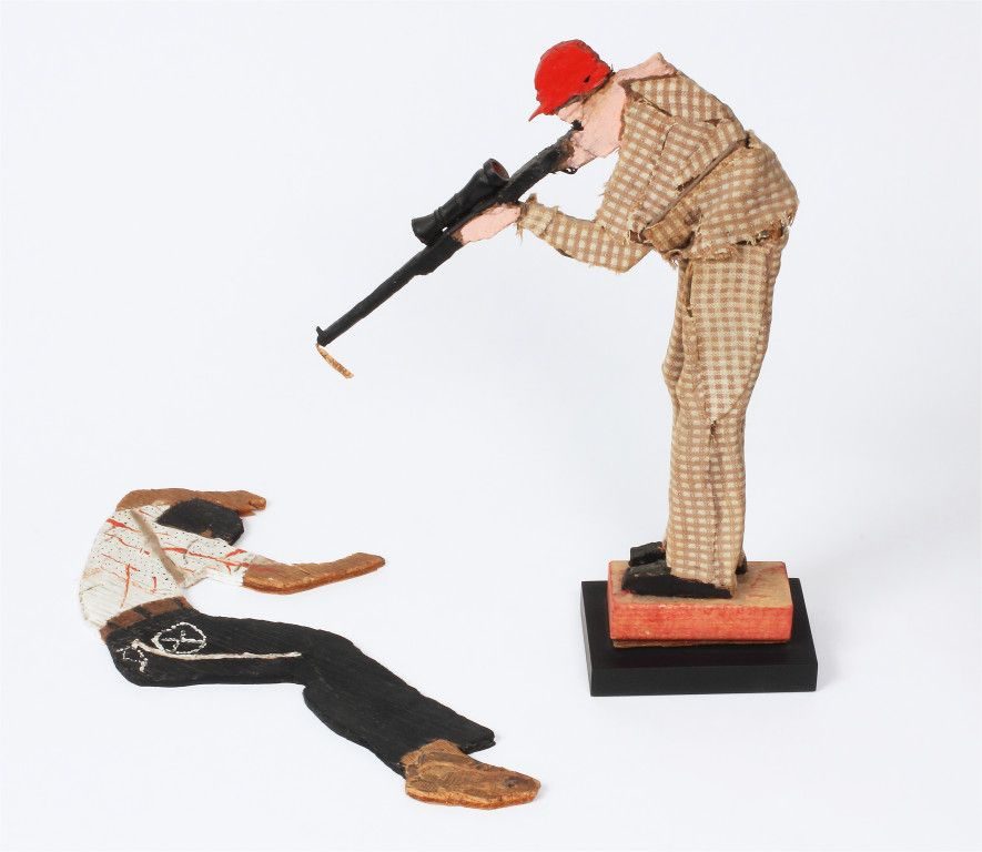 "Steve Ashby, ""Untitled (Hunter and Victim), n.d., mixed media, Collection of Robert A. Roth, Photo © Jeff Ellis"