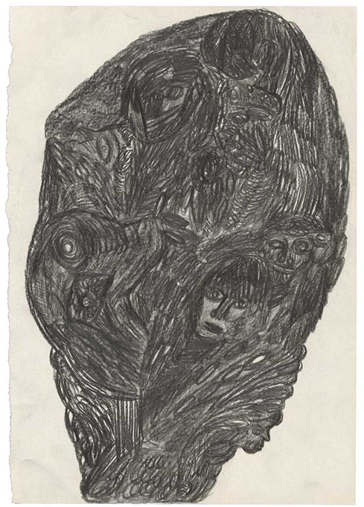 Untitled, 1984, coloured pencil on paper, 29,7 x 21 cm, © Collection de l'Art Brut, Lausanne